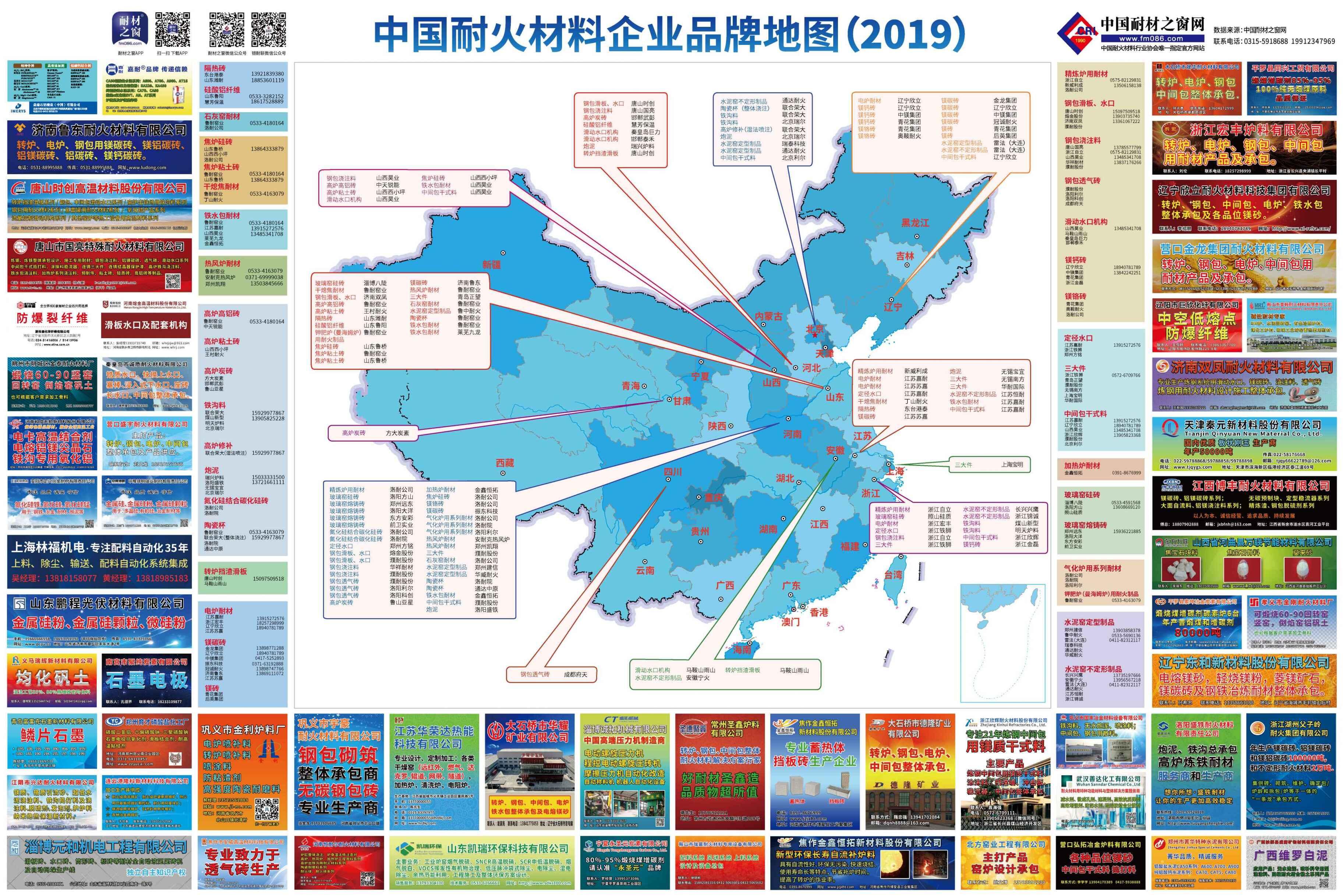 中国耐火材料企业品牌地图(2019)
