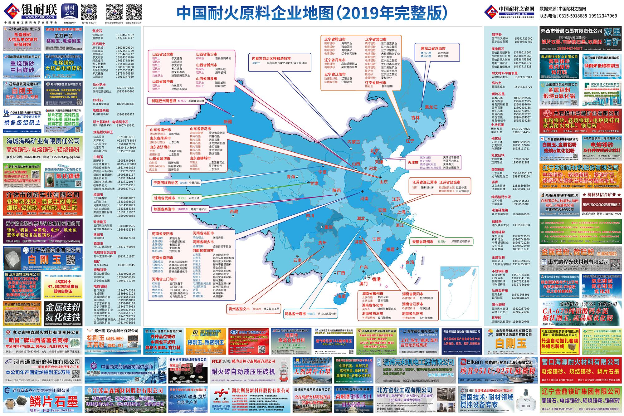 中国耐火原料企业地图(2019年完整版)